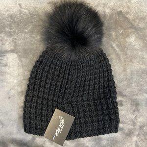 NWT KYI KYI Real Fox Fur Pom Black Winter Hat